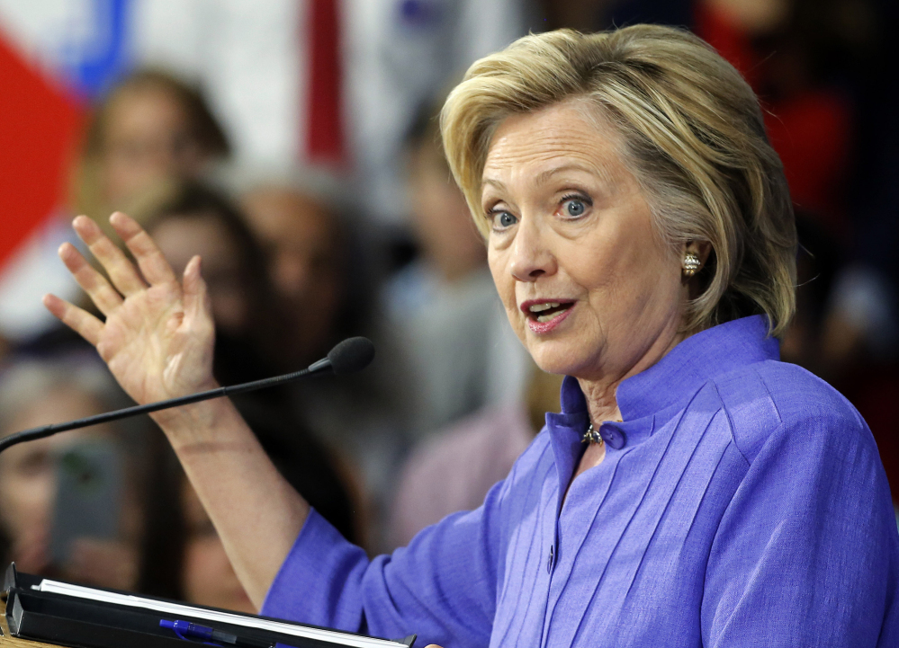 Democratic presidential candidate Hillary Clinton, seen speaking Monday in Exeter, N.H., said Donald Trump's comments about Fox News' debate moderator Megyn Kelly shouldn't overshadow the rest of the Republican candidates' policies dealing with women.