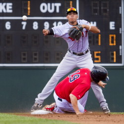 Erie SeaWolves second baseman Harold Castro forces out Sea Dogs first baseman Sam Travis before throwing out another runner for a double play Thursday at Hadlock Field.