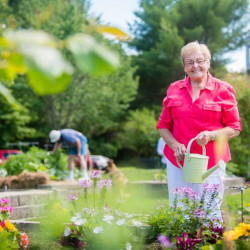 Marilyn Crandlemire, a resident of The Highlands retirement community, which has 15 raised beds and plans in the works to create a community plot next year.