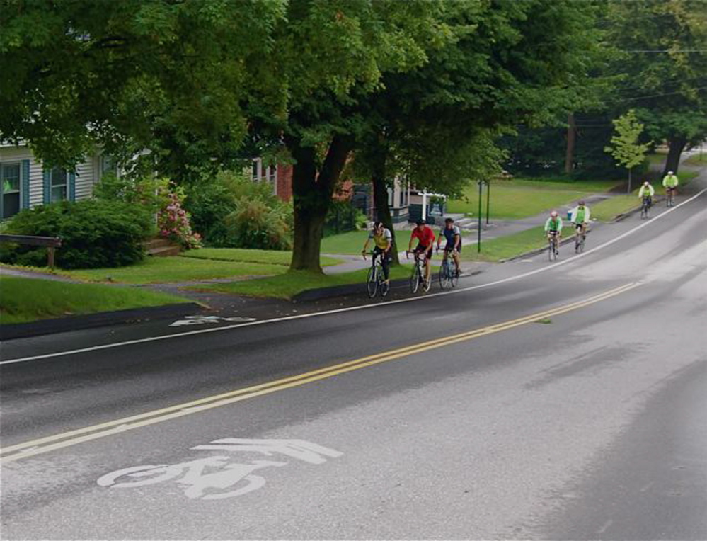 Courtesy photo Bicyclists use a new bike lane on Federal Street in Brunswick.