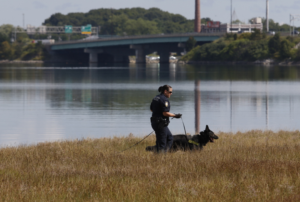 Officer Michelle Cole and K-9 Kaine search Thursday along Portland's Back Cove Trail during an investigation into a report that a woman was sexually assaulted while walking there Wednesday.