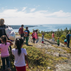 Blueberry Harvest School students hike during a field trip to Steuben on Thursday. The curriculum focuses on personal identity, conservation and coastal Maine.