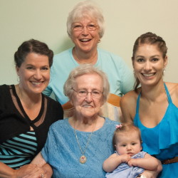 """Lucienne Pelletier, front center, holds her first great-great-grandchild, Kennedy Dionne, in this family photo submitted to the Portland Press Herald showing five generations. Pelletier celebrated her 94th birthday on July 19 at her home in Augusta. Granddaughter Karen Bruder, left, of Cumberland, wrote in an email that Pelletier """"is our inspiration: a woman of strength, love and deep faith."""" Also shown are Jacqueline Lessard, in back, of Cumberland, and Rachel Dionne, of Fort Kent. Bruder notes that Pelletier continues to live independently and now has six grandchildren and 13 great-grandchildren."""