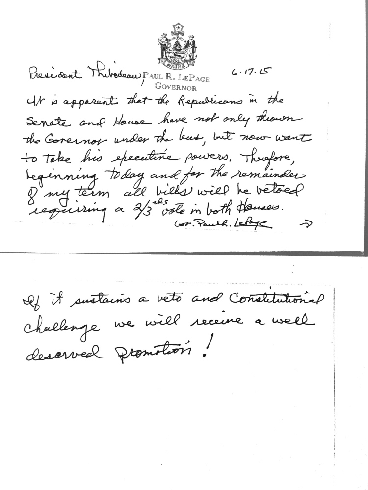 Governor LePage note sent to Senate President Mike Thibodeau (R-Waldo). Credit: Maine Progressives Warehouse