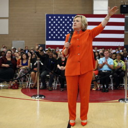 Democratic presidential candidate Hillary Rodham Clinton speaks at a town hall meeting Tuesday in North Las Vegas, Nev.