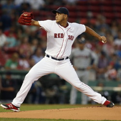 Eduardo Rodriguez of the Boston Red Sox pitches during the first inning of the 9-1 victory Tuesday night against the Cleveland Indians.