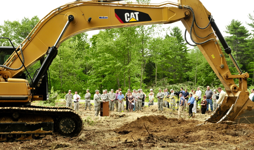 Maine National Guard leaders break ground on the site of their new headquarters near the Maine Veterans Memorial Cemetery off Civic Center Drive during a ceremony Thursday.