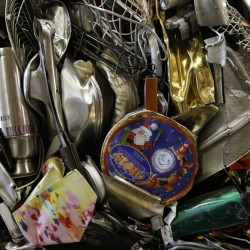 Compacted metal goods at the Goodwill warehouse in Gorham. In the past 12 months, Goodwill Industries of Northern New England sold 42 million pounds of household goods and recycled 17.9 million pounds. That's about 60 million pounds of stuff saved from becoming waste.