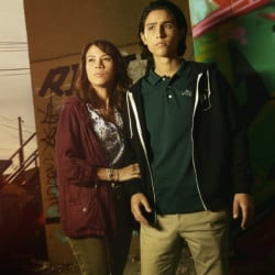 """Elizabeth Rodriguez and Lorenzo James Henrie in """"Fear the Walking Dead,"""" which premieres Sunday."""