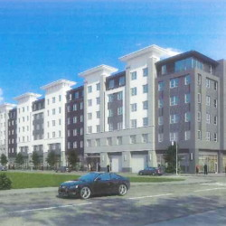 This rendering shows one of the proposed buildings in the midtown project. Courtesy photo