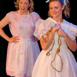 """Linette Miles and Alison Schaufler in """"Ruthless! The Musical,"""" which continues through Sept. 5."""