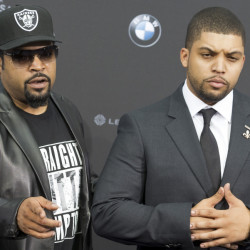 """Ice Cube, left, and O'Shea Jackson Jr. attend a premiere of """"Straight Outta Compton"""" in Berlin, Germany, on Aug. 18."""