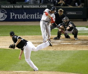 Boston's Travis Shaw hits a two-run home run off White Sox relief pitcher Nate Jones in the eighth inning of Wednesday night's 3-0 win in Chicago.