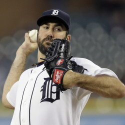Justin Verlander allowed one hit, a double that hit the foul line to lead off the ninth, in beating the Angels 5-0 Wednesday night in Detroit.