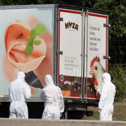 Investigators stand near a truck on the shoulder of a highway near Parndorf south of Vienna, Austria, Thursday. At least 20 migrants were found dead in the truck.