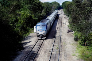 The Downeaster makes its way south Thursday in South Portland. Work is set to start next month on a train shed in Brunswick, even though a neighborhood group's appeal could kill the project. Shawn Patrick Ouellette/Staff Photographer