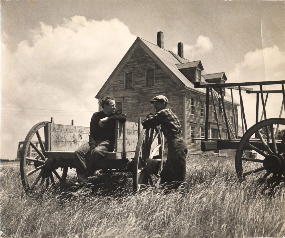 """Untitled photo by Kosti Ruohomaa of Andrew Wyeth and Alvaro Olson at the Olson House in Cushing, where Wyeth made his famous """"Christina's World"""" painting. Alvaro was Christina's brother."""