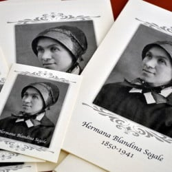 Pamphlets and prayer cards of Sister Blandina Segale sit on a table at the Catholic Center in Albuquerque, N.M., where a panel for the Archdiocese of Santa Fe is listening to preliminary evidence about possible sainthood for the Italian-born nun.