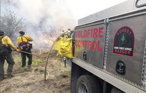 Maine Forest Ranger Wesley Hatch, left, and firefighter Brian Getchell attack a fire in Washington state this week.