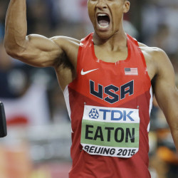 Ashton Eaton has reason to celebrate after running the 400 meters in 45 seconds to set a world-record time for the decathlon event Friday in Beijing.