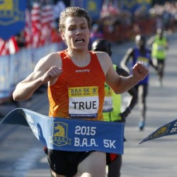 Ben True, shown here in April's Boston Marathon, finished sixth on Saturday in the 5,000-meter run at the track and field world championships in Beijing.