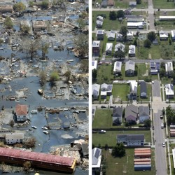THEN AND NOW: A neighborhood in the Lower Ninth Ward, a working-class and predominantly African-American section of of New Orleans just outside the city's historic center, reflects ongoing progress, but residents say there is still much to do.