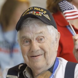 Robert Kennedy, of Lincolnville, returns to the Portland International Jetport on Sunday after spending the weekend in Washington, D.C., on an honor flight trip. Kennedy served three years in the U.S. Navy during World War II, serving in Europe and the South Pacific.