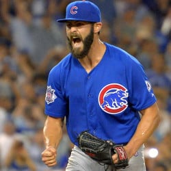 Cubs pitcher Jake Arrieta celebrates after the final out of his no-hitter in Chicago's 2-0 win over the Dodgers on Sunday in Los Angeles.
