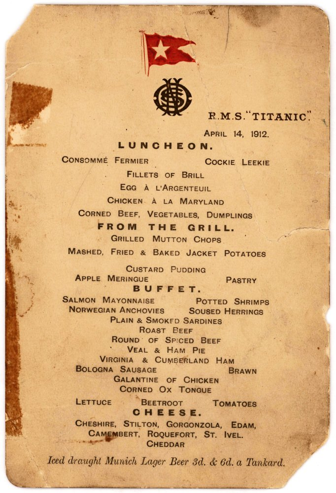 The Titanic's last lunch menu is going to auction and expected to bring $50,000 to $70,000.