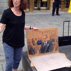 Courtroom sketch artist Jane Rosenberg displays her latest drawing of New England Patriots quarterback Tom Brady outside a federal courthouse in New York on Monday.