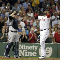 Red Sox designated hitter David Ortiz crosses the plate after hitting his 495th career home run in Boston's 4-3 win over the New York Yankees on Monday in Boston. The Associated Press