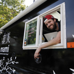 Austin Miller and his Mami Japanese food truck in Congress Square in Portland.  Jill Brady/Staff Photographer