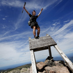 "Jesse Metzger, 19, of Newton, Mass., whose trail name is ""Sputnik,"" celebrates his Appalachian Trail thru-hike Wednesday atop Mount Katahdin. Upset with some hikers' behavior, Baxter State Park officials want groups affiliated with the AT to address their concerns or potentially find another northern terminus. ""That would be seen as a very big deal,"" Sputnik said.  Derek Davis/Staff Photographer"