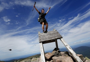 """Jesse Metzger, 19, of Newton, Mass., whose trail name is """"Sputnik,"""" celebrates his Appalachian Trail thru-hike Wednesday atop Mount Katahdin. Upset with some hikers' behavior, Baxter State Park officials want groups affiliated with the AT to address their concerns or potentially find another northern terminus. """"That would be seen as a very big deal,"""" Sputnik said.  Derek Davis/Staff Photographer"""