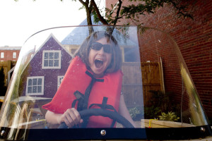 """PORTLAND, ME - JUNE 25: Dinah Routhier, 8, of South Portland, plays in the new exhibit at the Children's Museum & Theatre of Maine Thursday, June 25, 2015. The exhibit is based on """"Down to the Sea with Mr. Magee"""" by Maine author Chris Van Dusen. Routhier will be quoted in the review. (Photo by Gabe Souza/Staff Photographer)"""