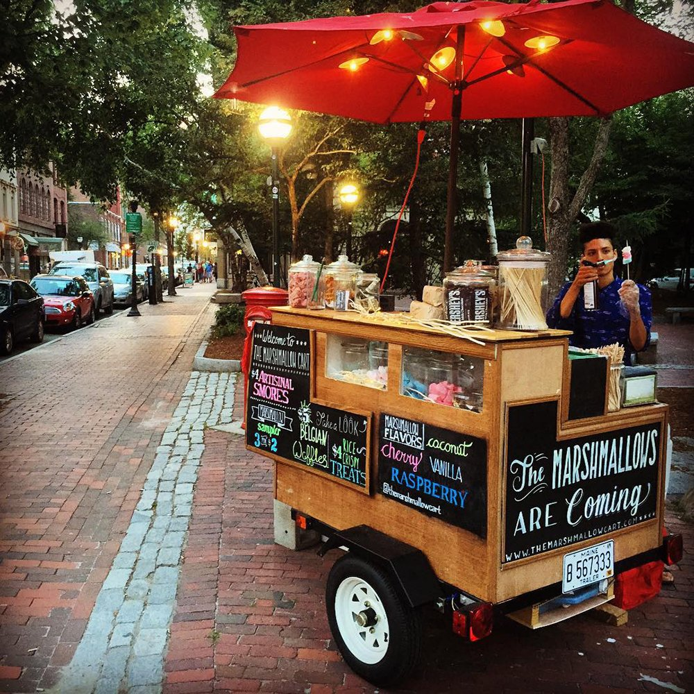 The Marshmallow Cart sells giant toasted marshmallows on a stick in three flavors. Courtesy photo