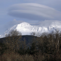 Mount Rainier is shown near Ashford, Wash. The Associated Press