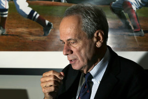 Boston Red Sox President and CEO Larry Lucchino speaks during an interview at Fenway Park in 2012. The Associated Press