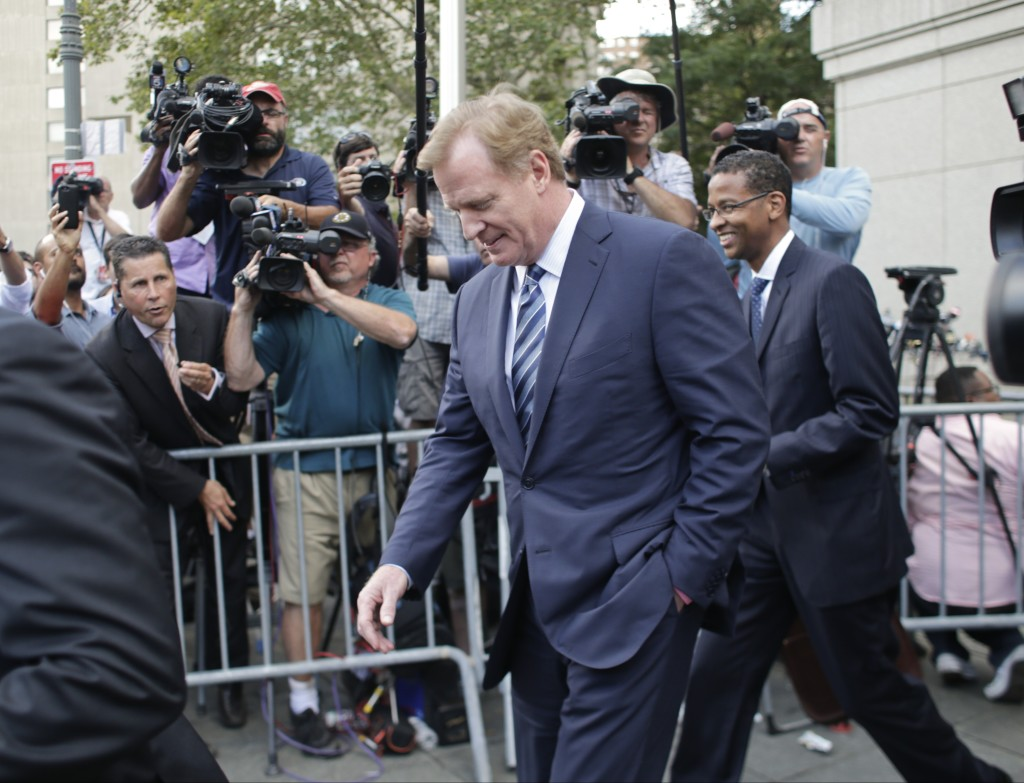 NFL Commissioner Roger Goodell leaves federal court after Wednesday's hearing in New York. The Associated Press