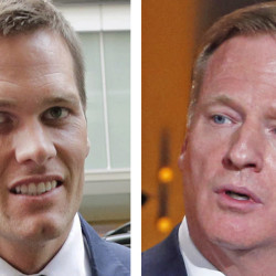 U.S. District Court Judge Richard Berman has  suggested that the NFL's finding that Tom Brady was generally aware that game balls were being deflated was too vague. At right is NFL Commissioner Roger Goodell.