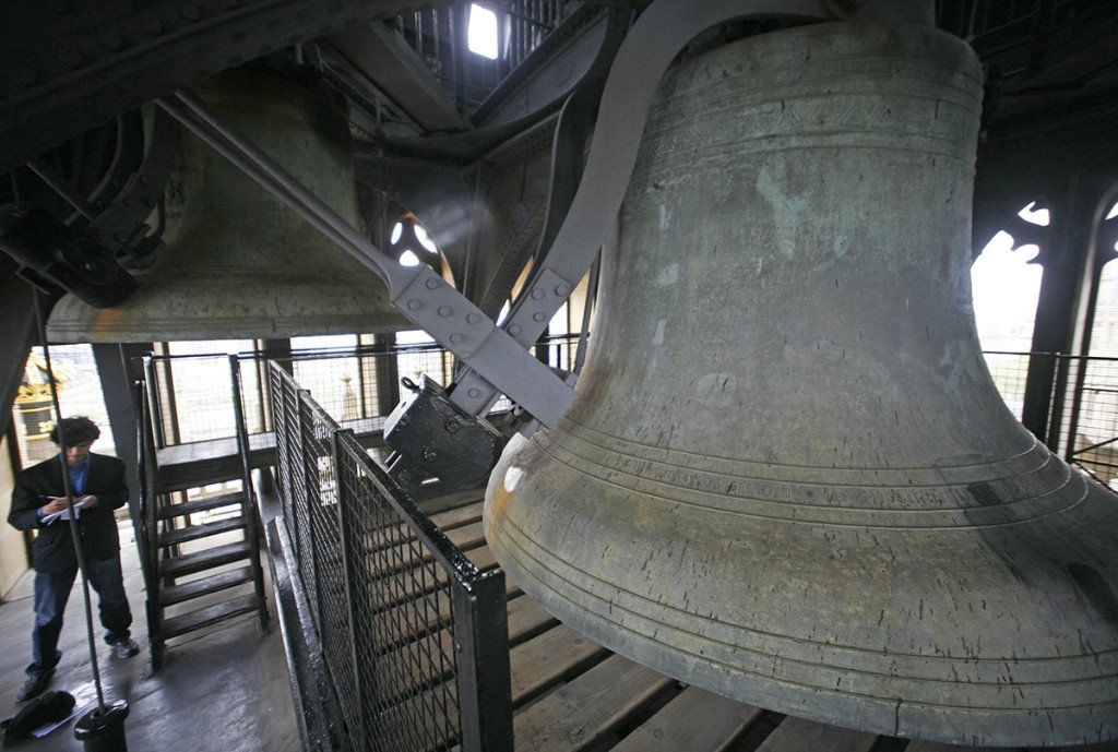 The Big Ben bell is seen inside St. Stephens tower at the Houses of Parliament, in central London in this 2009 photo.  The Associated Press