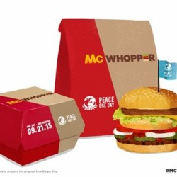 "Photo provided by Burger King shows a ""McWhopper."" In full-page newspaper ads Wednesday. Burger King is tying the publicity stunt to a nonprofit called Peace One Day, which says it promotes Peace Day."