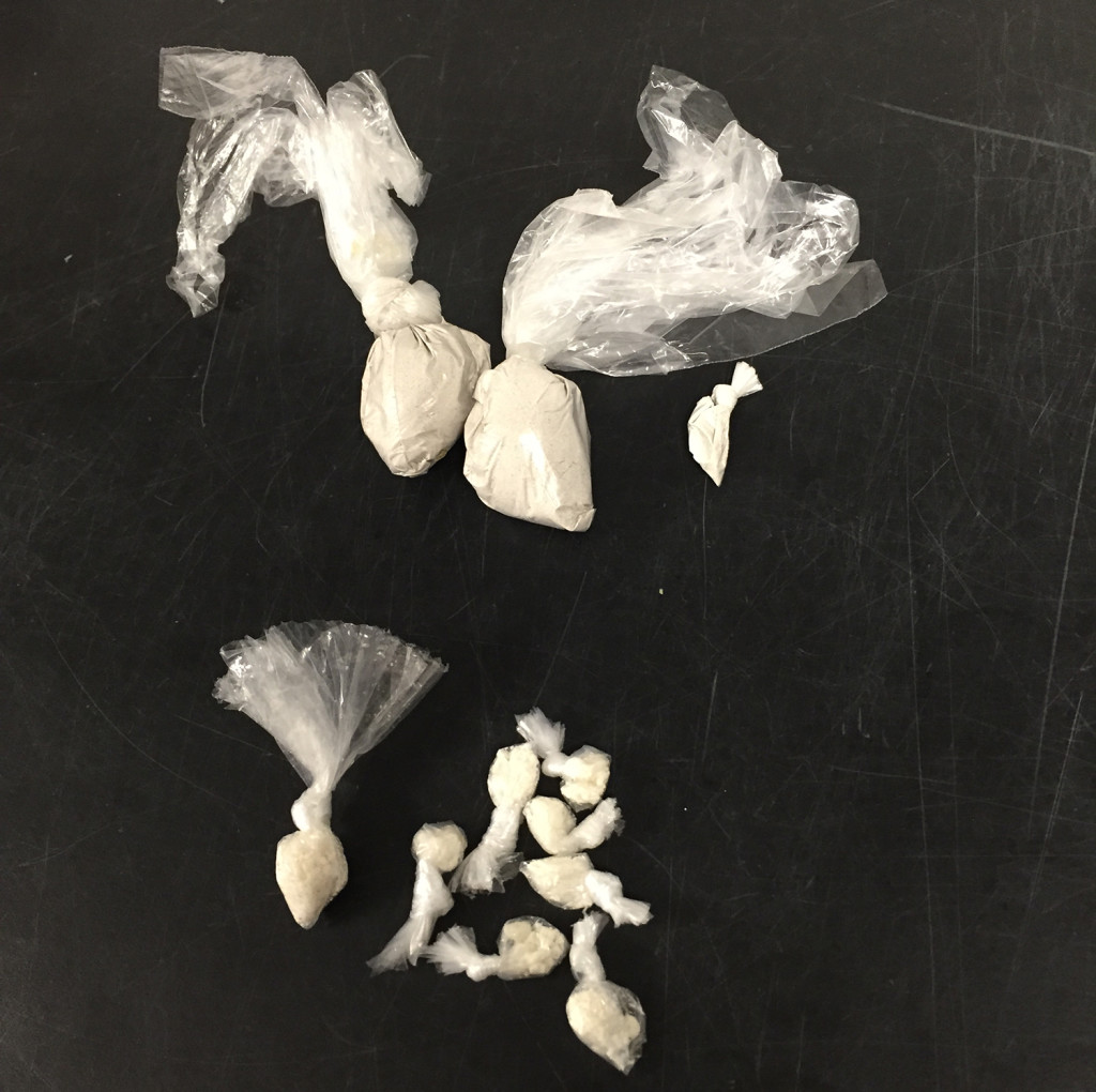 A stash of drugs allegedly found in the possession of Kyree Council after a traffic stop in Saco. Photo Courtesy of Saco Police Department.