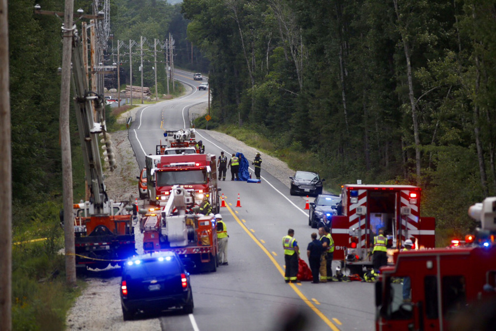 First responders reconstruct the accident on Aug. 11 in Casco that killed 4-year-old Cameron Joseph Petersen and injured his mother, Crystal Petersen of Gray. Petersen's condition has been upgraded to serious. Gabe Souza/Staff Photographer
