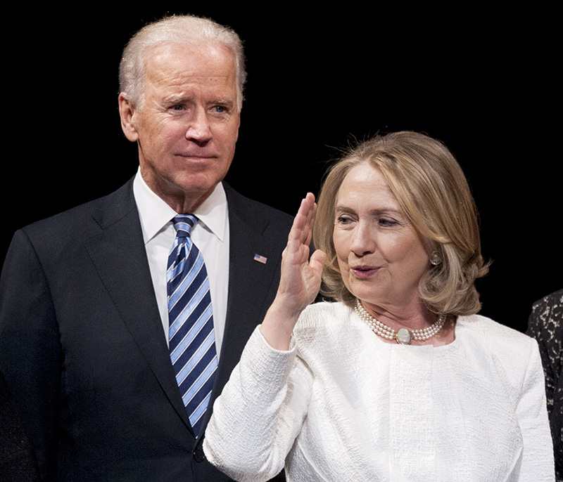 Vice President Joe Biden and former Secretary of State Hillary Rodham Clinton appear onstage at the Kennedy Center for the Performing Arts in Washington in this 2013 photo. Observers wonder whether Clinton's debate performance would make it harder, if not impossible, for Biden to convince donors and other top Democrats now backing Clinton to abandon her and join his campaign? The Associated Press