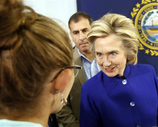 Democratic presidential candidate Hillary Rodham Clinton meets voters during a campaign stop at River Valley Community College Tuesday in Claremont, N.H. The Associated Press