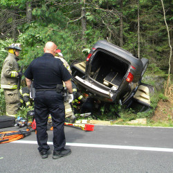 Arthi Nandhakumar of Lowell, Mass., was killed when this 2013 BMW X3, driven by her husband, overturned on Route 102 in Southwest Harbor on Saturday.