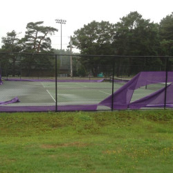 Vandals cut up windscreens at the Deering High School tennis courts Tuesday night or Wednesday morning. Courtesy photo