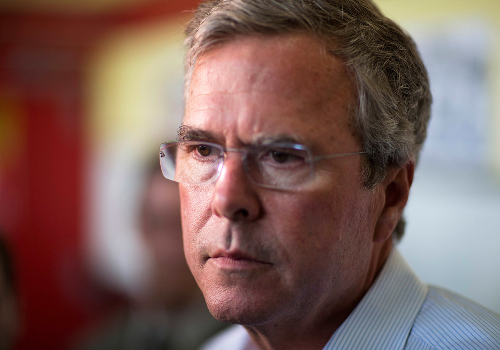 Republican presidential candidate former Florida Gov. Jeb Bush talks to reporters at The Varsity restaurant during a campaign stop in Atlanta. The Associated Press