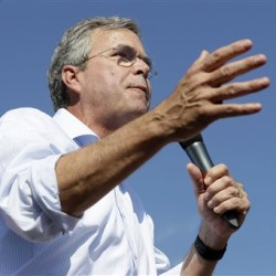 Republican presidential candidate Jeb Bush speaks at the Iowa State Fair in Des Moines on Friday. One of his key proposals is allowing veterans to use the GI Bill to obtain a small-business loan. The Associated Press